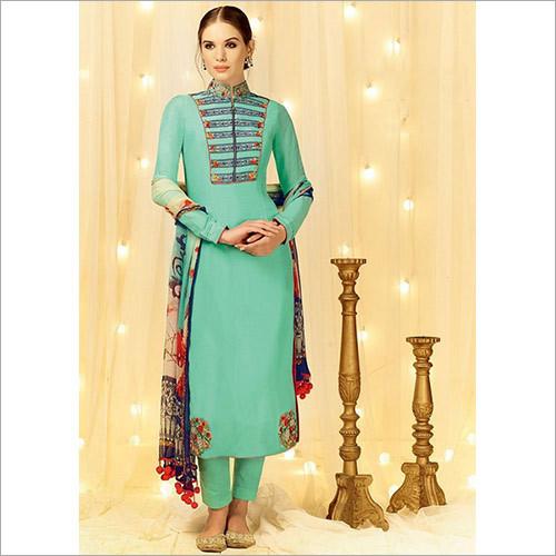 Sorcerous Dark Turquoise Cotton Satin Churidar Suit