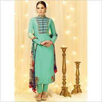 Sorcerous Dark Turquoise Cotton Satin Churidar Suit