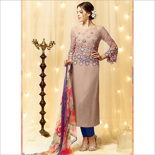 Surpassing Dark Grey Cotton Satin Churidar Suit