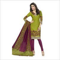 Green Colour Synthetic Chudidar And Patiyala Dress Materials