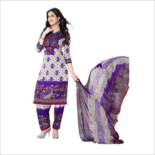 Purple Colour Synthetic Chudidar And Patiyala Dress Materials