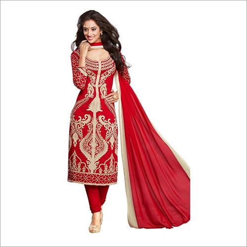 Red Colour Synthetic Chudidar And Patiyala Dress Materials