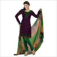 Salwar Studio Magenta & Green Synthetic Printed Unstitched Churidar