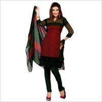Studio Red & Green Synthetic Printed Unstitched Churidar Kameez With Dupatta
