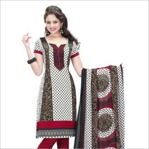 White & Black Pattern Synthetic Chudidar And Patiyala Dress Materials