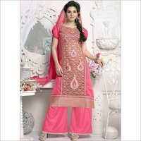 Blooming Pink Chanderi Cotton Palazzo Salwar Suit