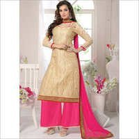 Charismatic Cream Chanderi Cotton Palazzo Suit