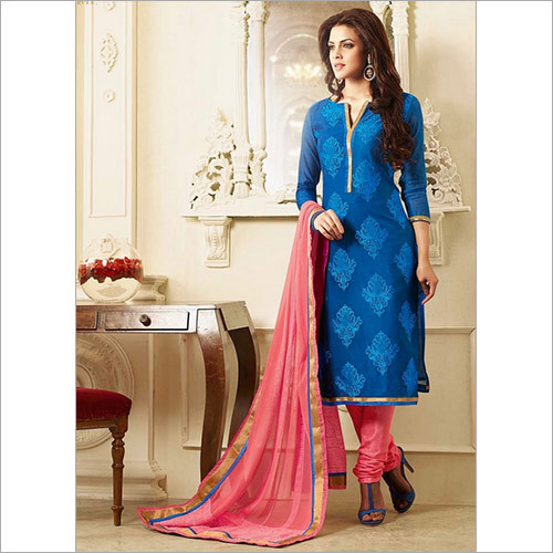 Chanderi Cotton Churidar Suit Cherubic Blue