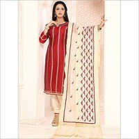 Colourful Maroon Chanderi Cotton Churidar Suit