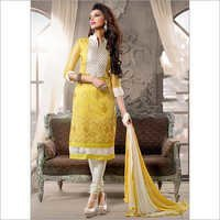 Dignified Yellow Chanderi Cotton Churidar Suit