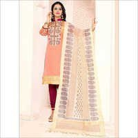 Felicific Rust Cotton Churidar Suit