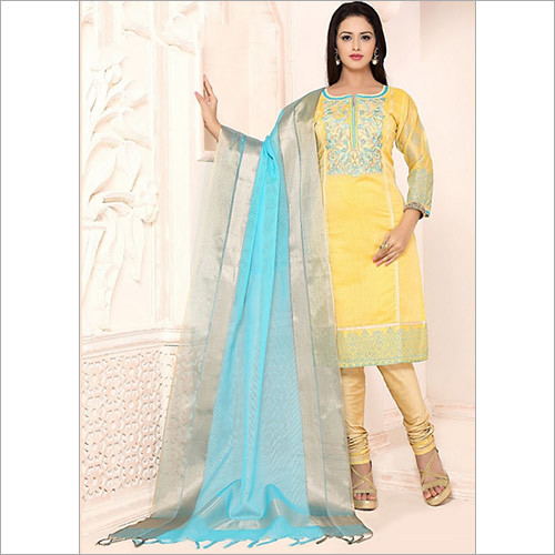 Gleeful Yellow Chanderi Cotton Churidar Suit