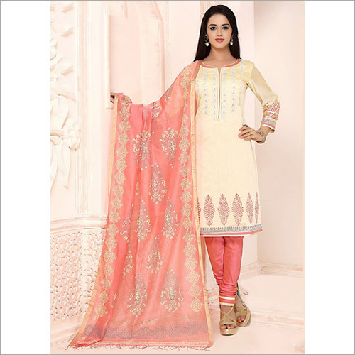 Glossy Beige Chanderi Cotton Churidar Suit