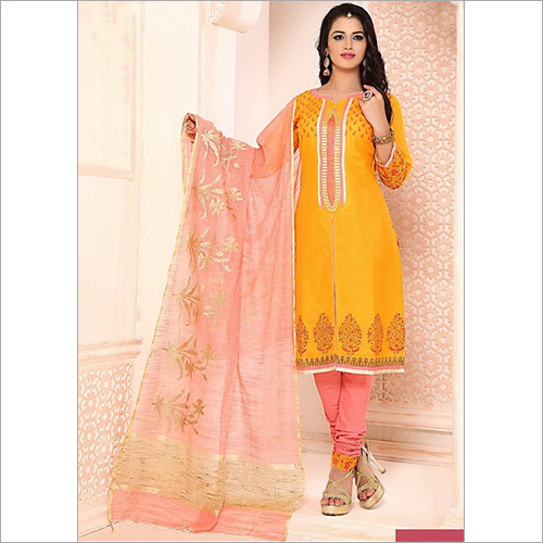 Grandiose Gold Chanderi Cotton Churidar Suit