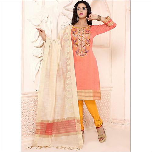 Hegemonic Peach Chanderi Cotton Churidar Suit