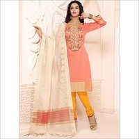 Hegemonic Peach Chanderi Cotton Churidar Suit