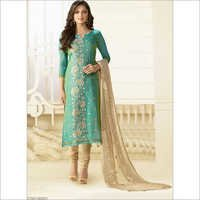 Intelligent Teal Green Chanderi Silk Churidar Suit