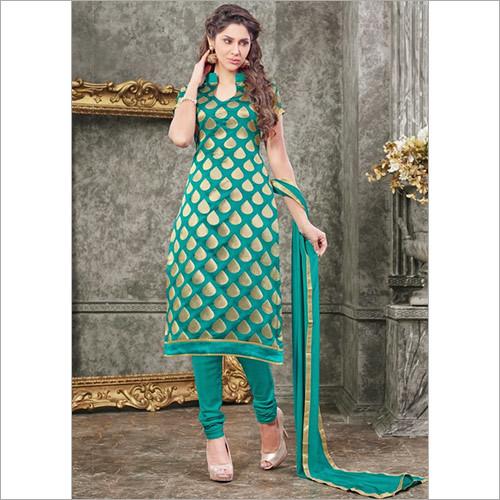 Opulent Sea Green Chanderi Churidar Designer Suit