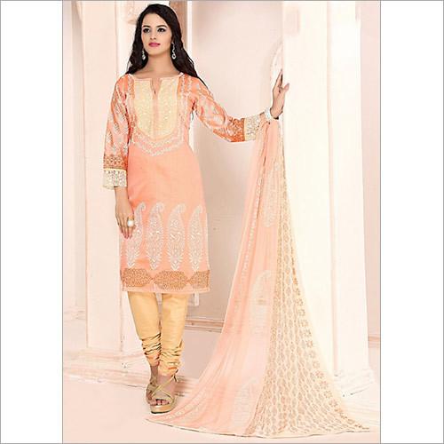 Regal Peach Chanderi Cotton Churidar Suit
