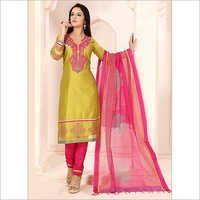 Sincere Dark Yellow Chanderi Cotton Churidar Suit