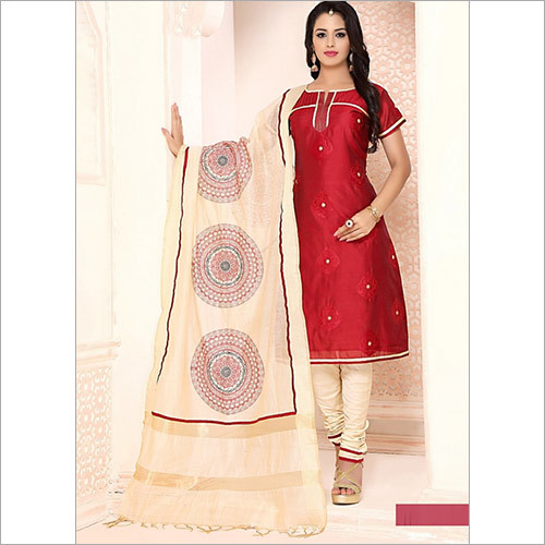 Sprightly Maroon Cotton Churidar Suit