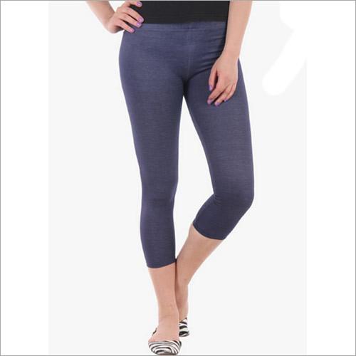 Dark Blue Solid Leggings