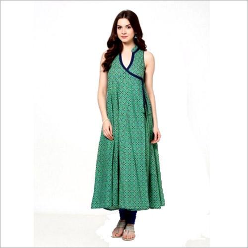 Green Printed Angrakha Kurti