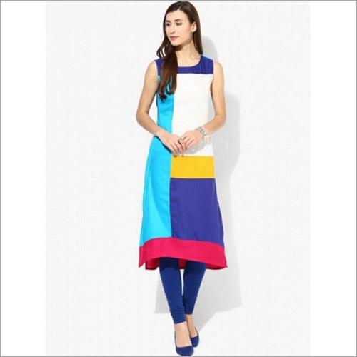 Multi Colored Sleeveless Colorblock Kurta