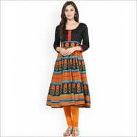 MultiColor Cotton Printed Anarkali Kurti