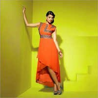 Orange Faux Georgette Tulip Shaped Kurti
