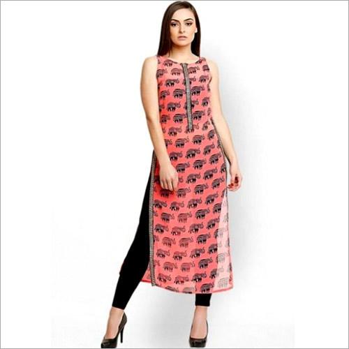 Pink Georgette Printed Daily Wear Kurta