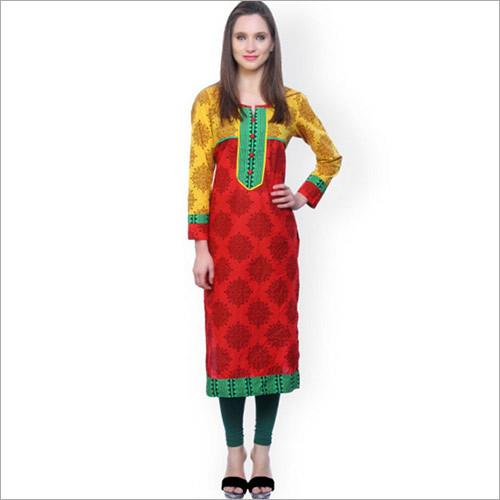 Red & Yellow Printed Kurta