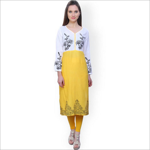 White & Yellow Printed Kurta