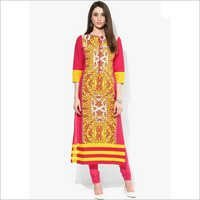 Yellow Printed Cotton Kurta