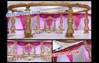 Grand Wedding Hand Craved Wood Mandap Set