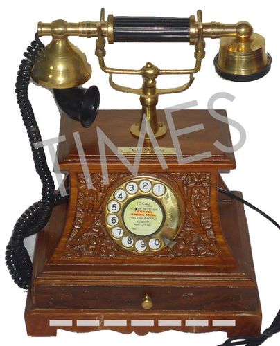 Antique  Wooden Carving Rotary Telephone