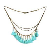 Light Blue Tussle With Long Metal Chain Necklace