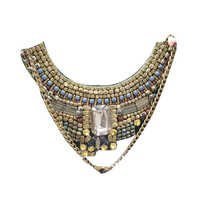 Gold Glass Beaded Hand Embroidery Choker Necklace
