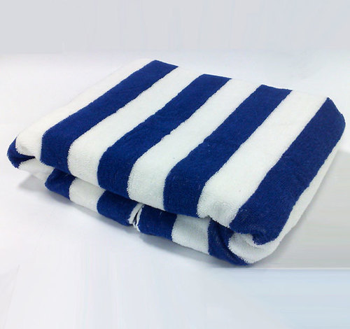 white and blue stripe towel
