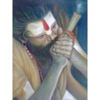 Smoking Sadhu Painting