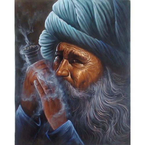 Man Smoke a Pipe Painting