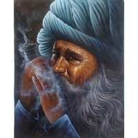 Man Smoke a Pipe Painting