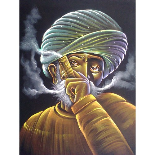 Man Smoking Pipe Painting