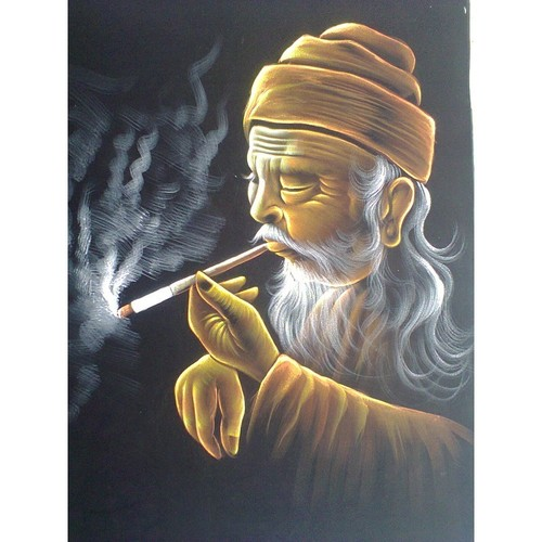 Old Man Smoking Tobacco Painting