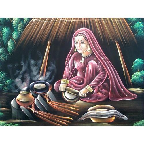 Chapati Making Woman Painting