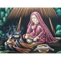 Chapati Making Woman Painting