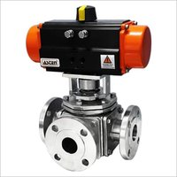 Pneumatic Actuator Operated 3 Way Ball Valve F/E