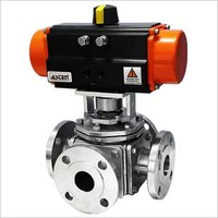 Pneumatic Actuator Operated 4 Way Ball Valve F/E