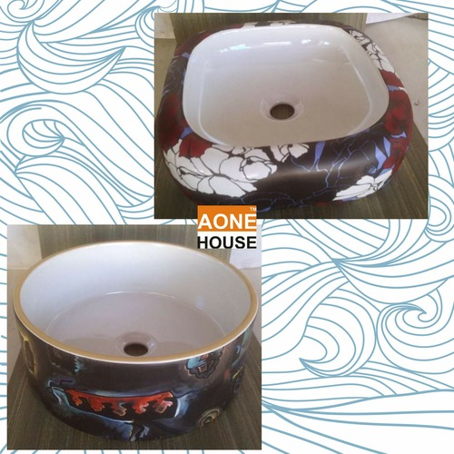 Multi Sticker Design Table Top Wash Basin