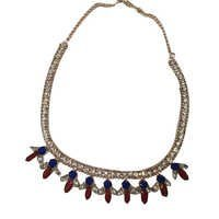 Blue And Red Stone Beaded With Metal Chain Necklace